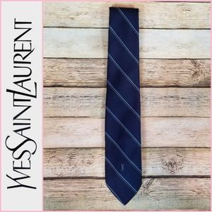 Yves Saint Laurent Navy Embroidered YSL Tie